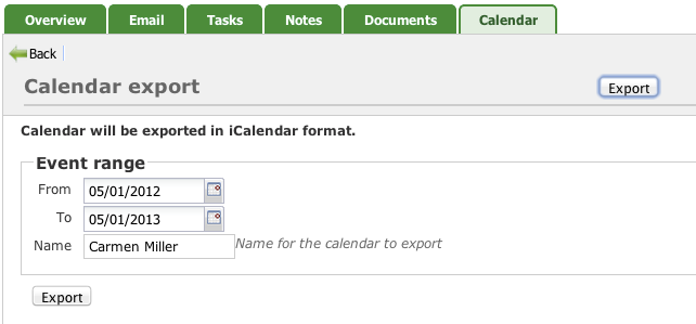 Events export form